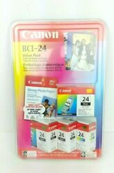Canon 24 Bci-24 1 Color 3 Black Value Pack And Printer Ink 4x6 Photo Glossy Paper