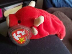 Ty Beanie Baby 1995 Snort The Red Bull With Ear And Tush Tag
