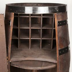 Whiskey Barrel Mixed Bar Antique Furniture Cabinets Display Lazy Susan Wine Rack