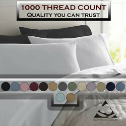 Deluxe Ultra Soft 1000 Thread Count 100 Pure Cotton Solid Pillowcases