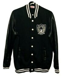Mitchell And Ness Oakland Raiders Authentic Varsity Snap Letterman Jacket Mens 2xl