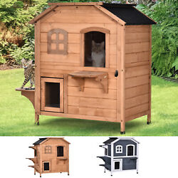 Cat Condo W/ Tons Of Room And Openable Roof Fir Wood Outdoor/indoor Catio