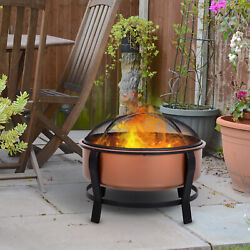 30 Steel Round Outdoor Patio Fire Pit Wood Log Burning Deep Basin With Poker,