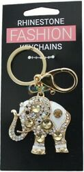 Good Luck Elephant Keychain With Crystals and Rhinestones Charm Gift $6.50