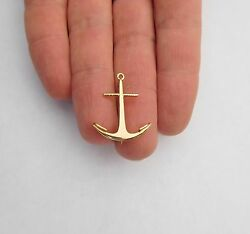 Rare Victorian Edwardian 19th Century 14k Gold Detailed Anchor Pin Brooch ⚓🐟