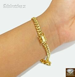 6mm Solid 10k Yellow Gold Miami Cuban Bracelet Box Lock Strong Link 8 Inch Heavy