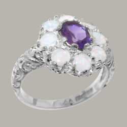 Solid 18ct White Gold Natural Amethyst And Opal Womens Cluster Ring - Sizes J To Z