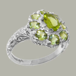 Solid 18ct White Gold Natural Peridot Womens Cluster Ring - Sizes J To Z