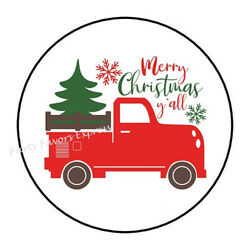 48 Merry Christmas Truck Envelope Seals Labels Stickers 1.2 Round