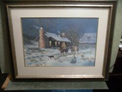 It Will Be A Cold Hunt - Jodie Boren Original Watercolor Framed