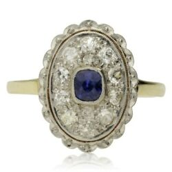 Edwardian 18ct Gold Sapphire And Diamond Cluster Ring