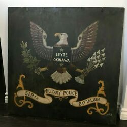 Ww2 519th Military Police Battalion Okinawa Base Sign Banner Theatre Made 1943