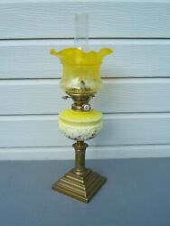 Oil Lamp Vintage Yellow Font And Tulip Shade Hinks Burner Brass Base Nice Con Ol47
