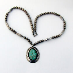 Navajo Shadow Box Stone Pendant Bead Necklace Sterling Silver Signed