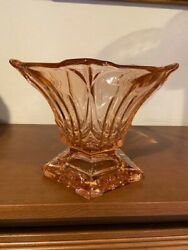 Vtg 5 Sided Footed Art Deco Pink Depression Glass Compote Candy Dish Gorgeous