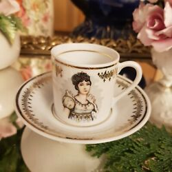 Antique Josephine F And D Porcelain De Luxe France Coffee Cup And Saucer