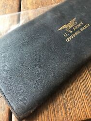 Us Army Discharge Holder Antique With Discharge Paper