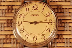 Vintage Watch Raketa /rocket Made In Ussr Gold Plated New Band