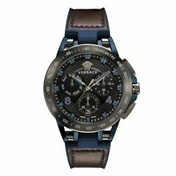 Menand039s Versace Sport Tech Chronograph Brown Rubber Strap Verb00218 100 Authentic