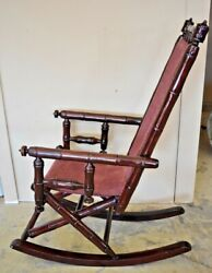 Vintage Faux Bamboo Rocking Chair With Mahogany Finish And Maroon Upholstery