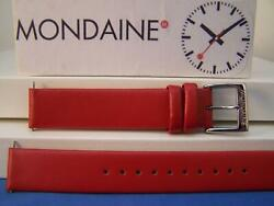 Mondaine Watchband Original 16mm Red Leather Strap W/ Logo Buckle And Pins.