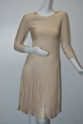 New With Tag Knit Stretch Dress Beige Pleated Long Sleeve Fitted 38