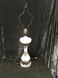 """Vintage 31"""" Milk Glass Lamp With Gold Roses, Base Is Marble Works Great"""