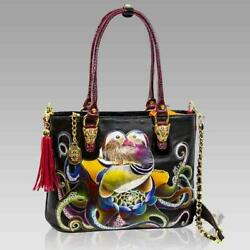Marino Orlandi Designer Large LOVEBIRDS Handpainted Leather Tote Crossbody Bag