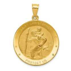 14k Yellow Gold Polished And Engraveable St. Christopher Protect Us Medal Pendant