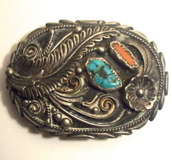 Vint Navajo Silversmith Tom Ahasteen Sterling Silver Turquoise/coral Belt Buckle
