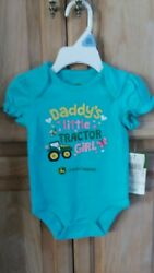 NWT John Deere TURQUOISE one piece top DADDY'S LITTLE TRACTOR GIRL 3M6M Gift! $12.99