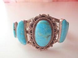 Native American Running Bear Rb Signed Sterling Silver Turquoise Cuff Bracelet