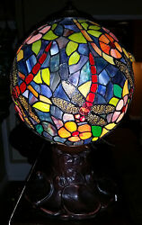 Style Lamp Stained Glass Dragonfly Globe Orb Lily Pad Metal Base 12 W