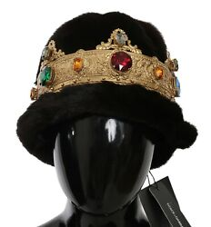 Dolce And Gabbana Hat Mink Fur Women Brown Beanie Crystal Crown One Size Rrp 9800