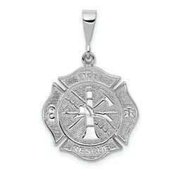 14k White Gold Everyday Hero Solid Fire Dept Firefighter Fire Rescue Pendant