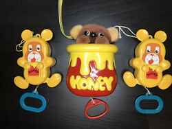 Early Learning Centre Musical Honey Bear Pull Cord Moving Toy Vintage 1985-1988