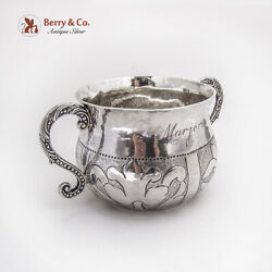 English Ornate Two Handled Cup Coin Inset Harry Brasted Sterling Silver 1902