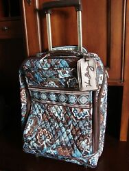 Retired Vera Bradley Java Blue Luggage 19 Rolling Suitcase Carry On Excellent