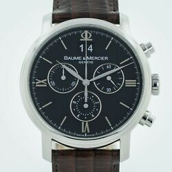 Baume Mercier Classima Chronograph Ref 65538 Menandrsquos Stainless Steel Leather