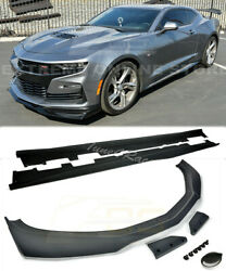 For 19-up Camaro Ss Zl1 1le Style Black Front Lip Splitter And Side Skirts Primer