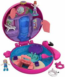 Polly Pocket Flamingo Floatie Pool Compact With Adventure Dolls Hot Kids Toy