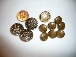 Antique Vtg Collectible Lot Rare Waterbury Crest Crown Metal /brass Buttons