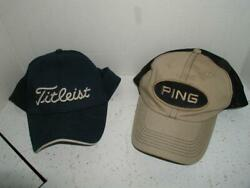 2 Titleist Ping Golf Visor Official Hats Embroidered Logo Tan Blue Brand New Tag