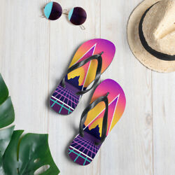 Retro Wave Sunrise Flip-Flops