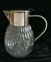Vintage Crystal Pitcher, Silver Plate Top And Handle, Ice Tube, Spout Strainer
