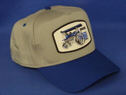 Baker Steam Engine Tractor Hat - Royal Blue And Gray - Snapback