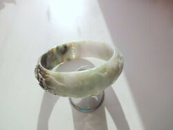 Hand Carved Unisex Grade A Natural Jade Jadeite Green White Bangle Bracelet 65mm