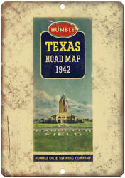 Humble Oil And Refining Company Road Map 12 X 9 Retro Look Metal Sign A128
