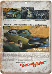 Dodge Fever Charger R/t Vintage Ad 12 X 9 Retro Look Metal Sign A267