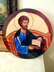 Religious Print Picture Saint Luke Modern on Board Icon frm Religious Order 16quot;